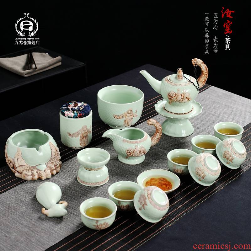 Your up Chinese kung fu tea set tea service of a complete set of household jingdezhen ceramic teapot tea cup master CPU