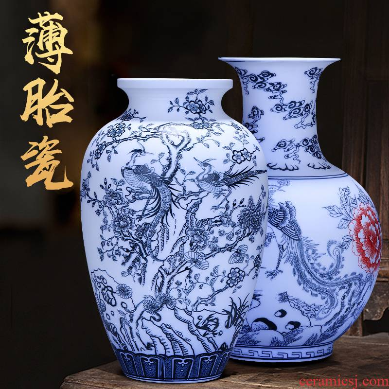 Jingdezhen ceramics vase hand - made frosted flower arranging furnishing articles creative Chinese style household adornment of blue and white porcelain vases