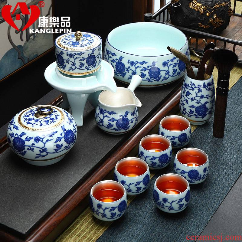 Recreation is tasted Chinese jingdezhen ceramics automatic tea set lazy office home tea tasted silver gilding the cups