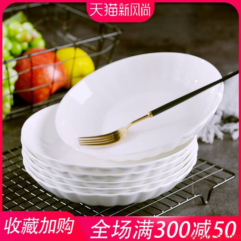Son home ideas under the pure white glaze color ipads porcelain jingdezhen ceramic dishes suit circular European - style soup deep dish