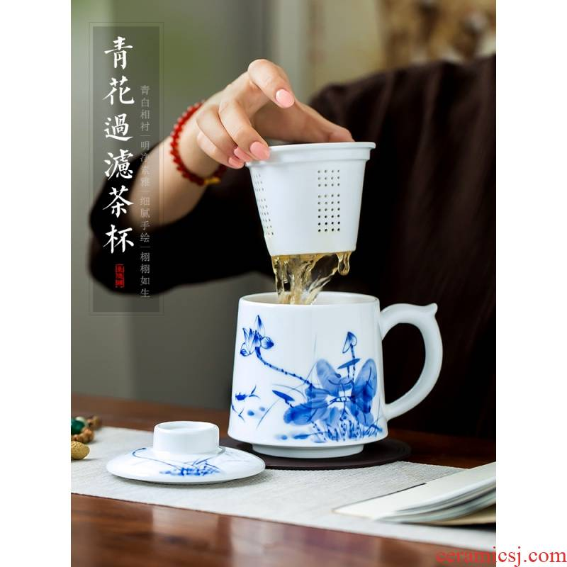 The Poly real scene of jingdezhen blue and white porcelain hand draw large cups with cover filter glass household ceramics Chinese office