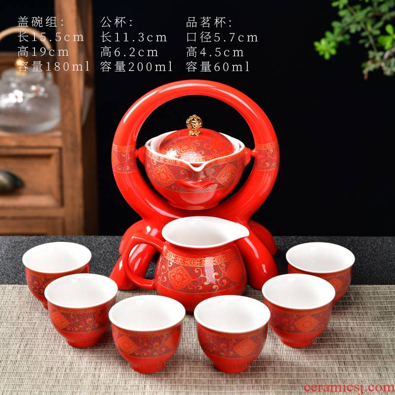 Violet arenaceous kung fu mercifully creative lazy automatic tea hot tureen chai up turn blue of a complete set of Chinese tea