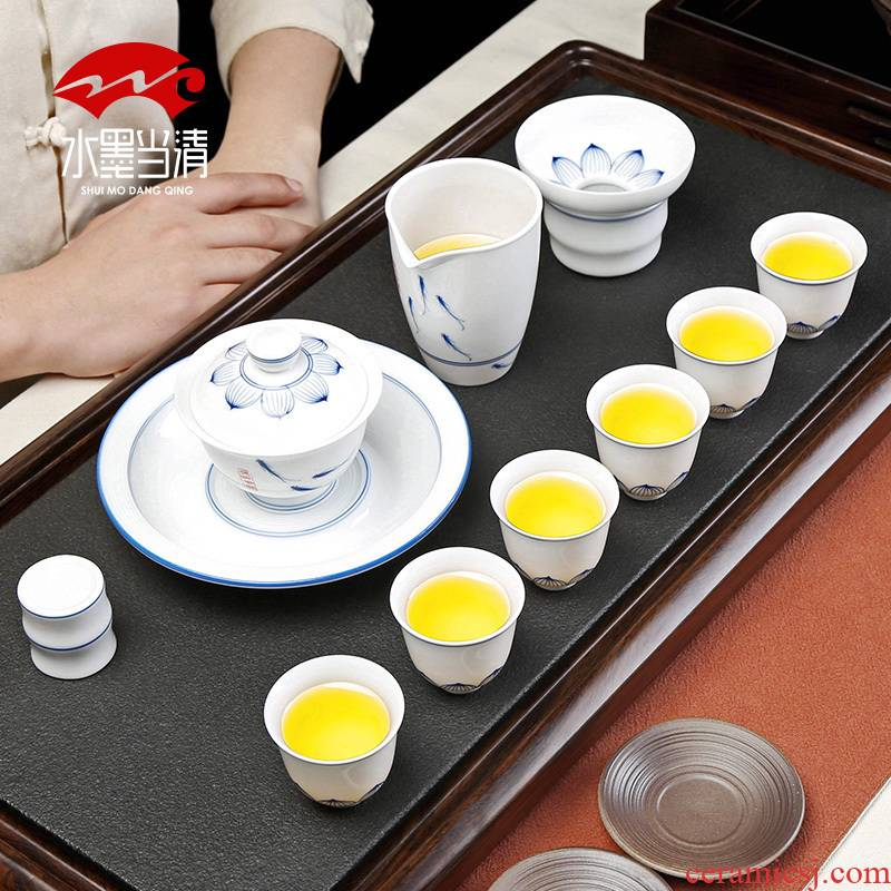 Ceramic hand - made porcelain teacup suit white porcelain kung fu tea tureen pot bearing home a whole set of gift box office