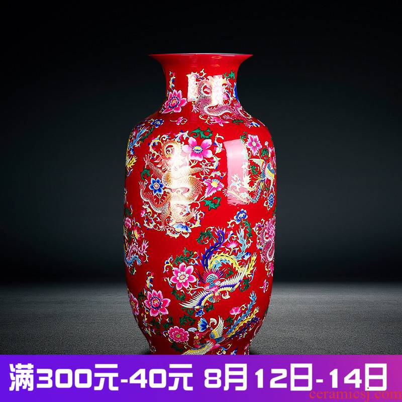 Jingdezhen ceramics of large vase household of Chinese style red yellow blue in extremely good fortune new house furnishing articles sitting room