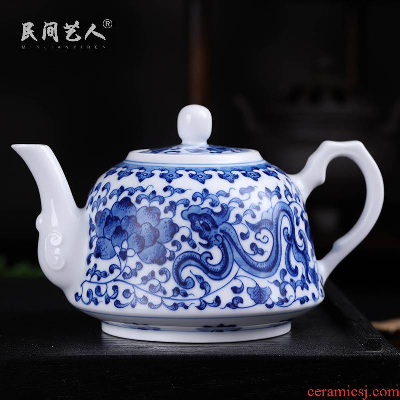 Jingdezhen ceramic teapot tea set household under the blue and white porcelain glaze color kung fu tea set single pot teapot big kettle