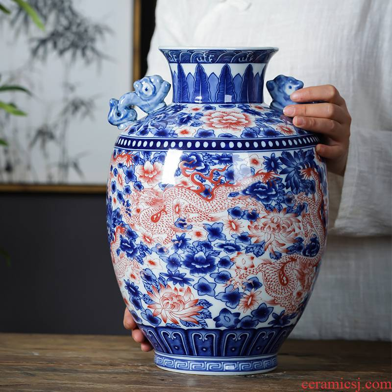 Jingdezhen porcelain ceramic antique ears of blue and white porcelain vase furnishing articles of new Chinese style household flower arrangement sitting room adornment