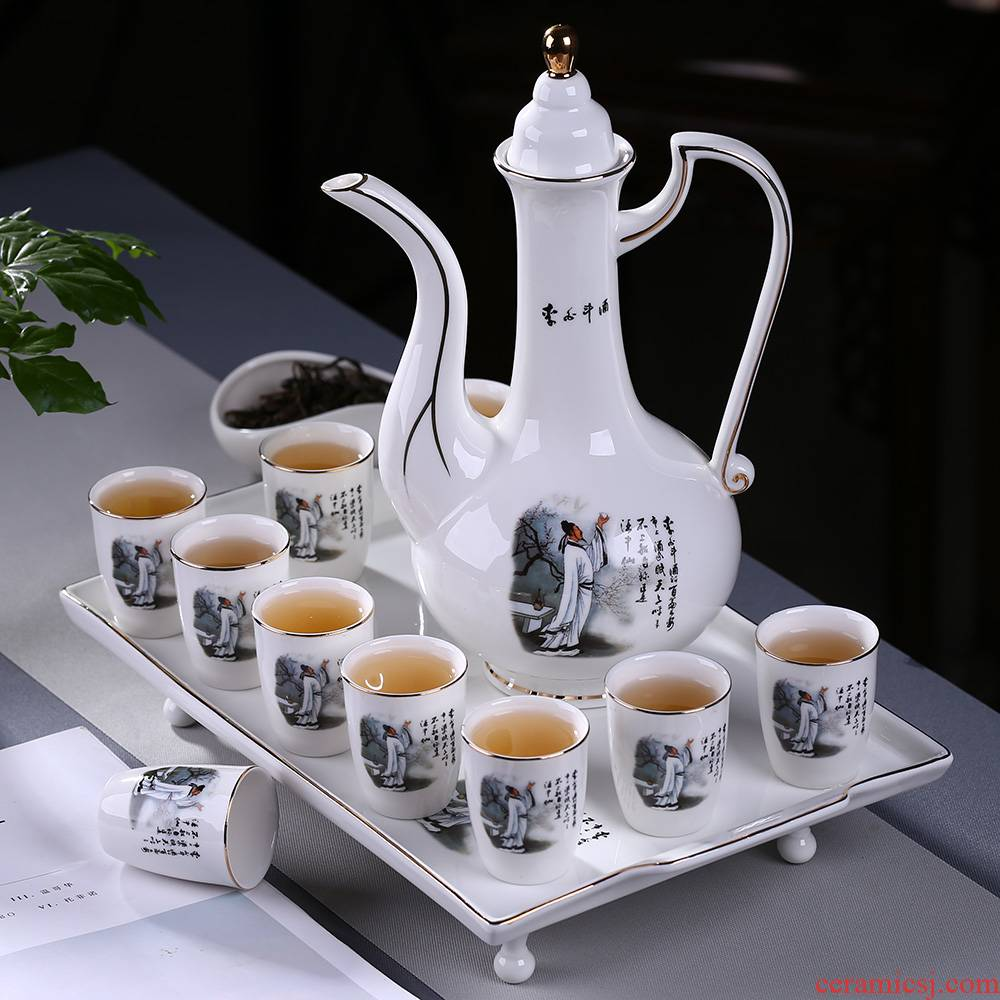 Ceramic wine suits for with tray was hip flask glass wine liquor of a complete set of points of blue and white porcelain cup Chinese wine gift