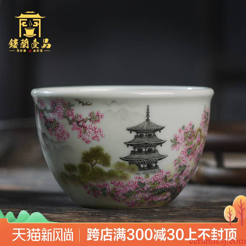 All hand - made pastel xanadu cylinder cup of jingdezhen ceramics kung fu tea, large tea cup single CPU master CPU