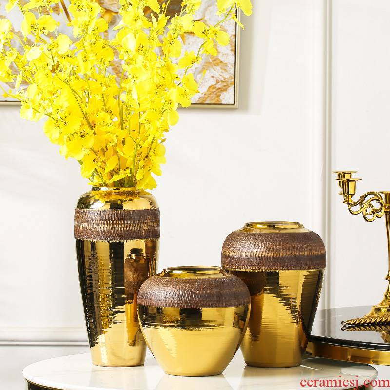 New Chinese style light key-2 luxury furnishing articles home decoration ceramic vase dried flowers flower arrangement table accessories TV ark, decoration sitting room