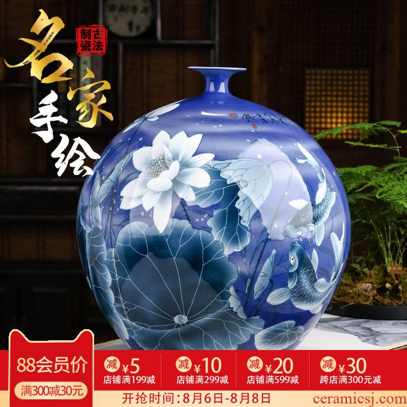 Hand made lotus large blue and white porcelain vase furnishing articles of new Chinese style living room large landing jingdezhen ceramic bottle