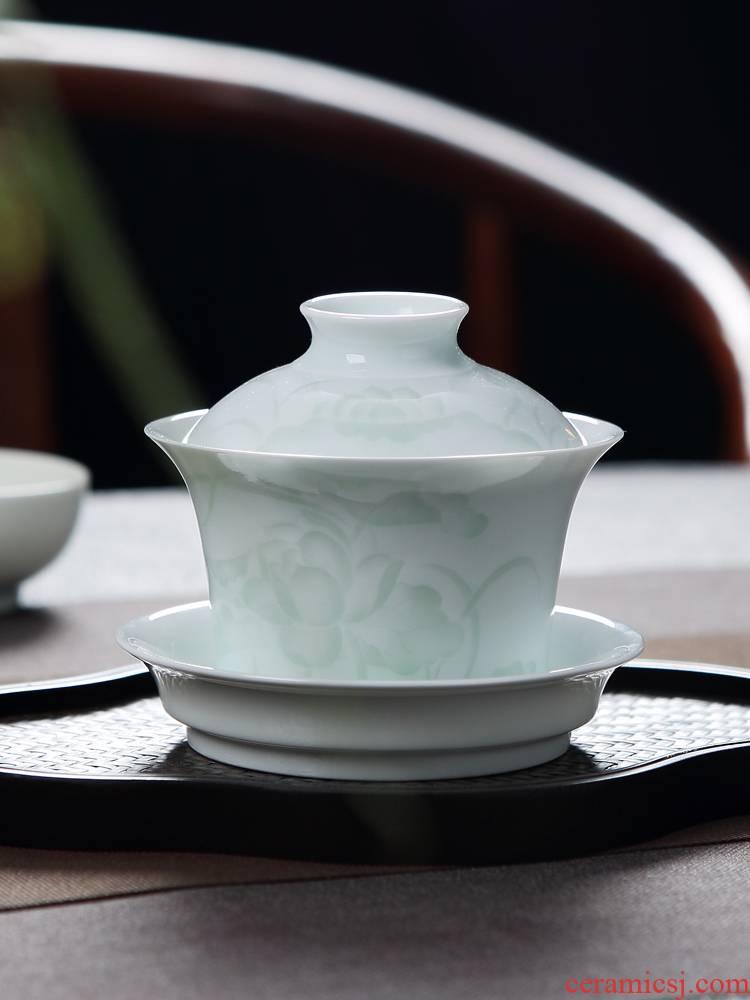 Jingdezhen blue white porcelain shadow green ceramic three to make tea tureen single bowl cups household kung fu tea tea