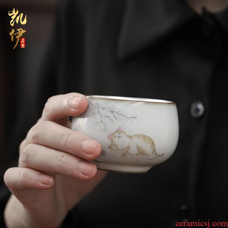 Tasted silver gilding on your up hand - made master cup sample tea cup of jingdezhen ceramic cat kung fu tea set silver cup tea cups