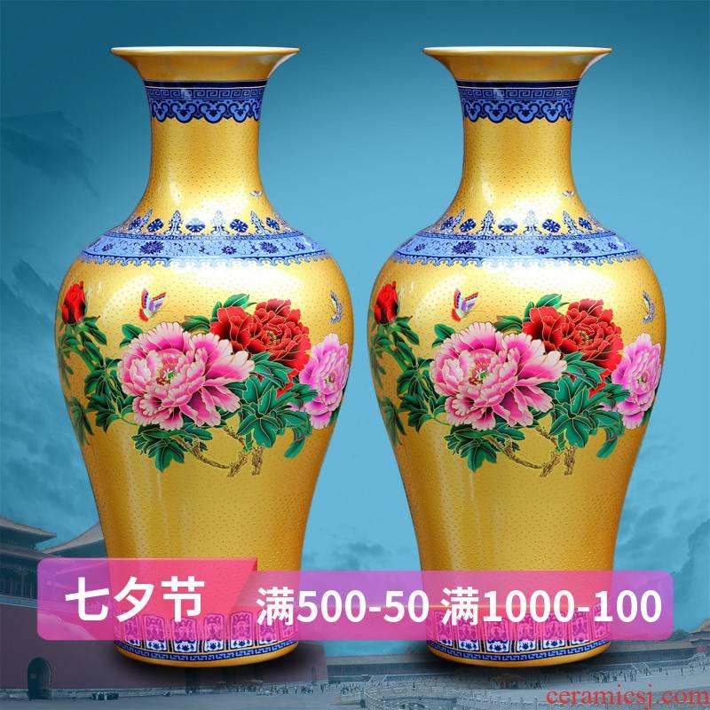 Mesa of jingdezhen chinaware big vase Europe type restoring ancient ways of colorful peony colored enamel medium sitting room place process