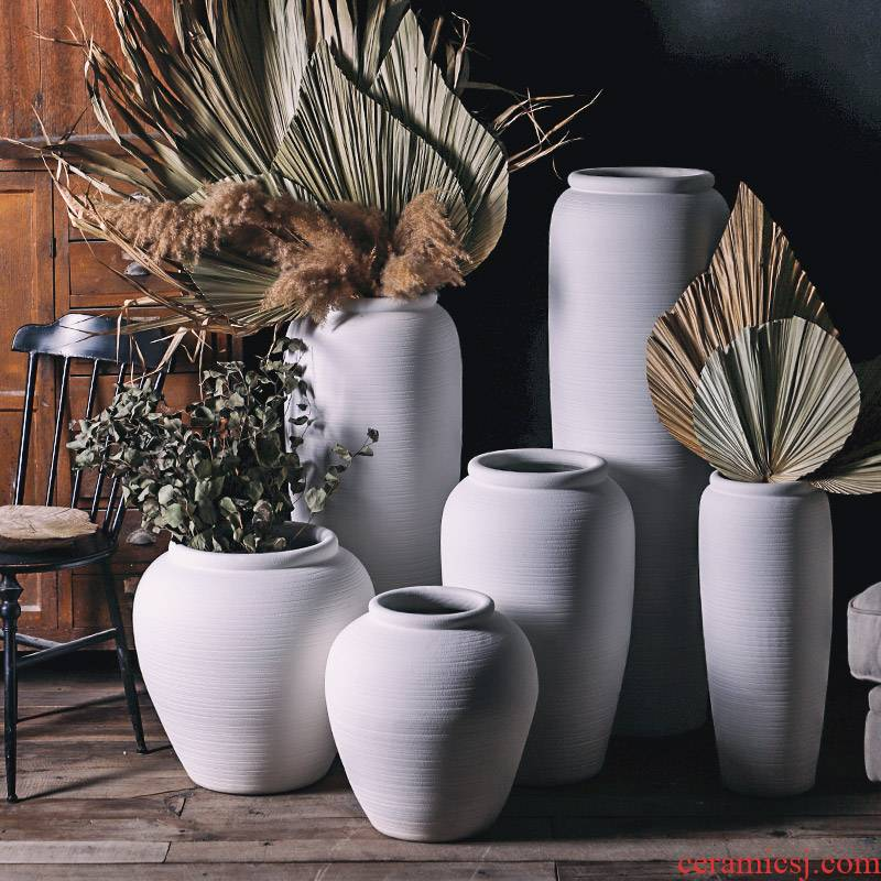 Royal three coarse pottery Nordic white mud of large vase wedding dry flower arranging flowers decorative furnishing articles contracted and I wind