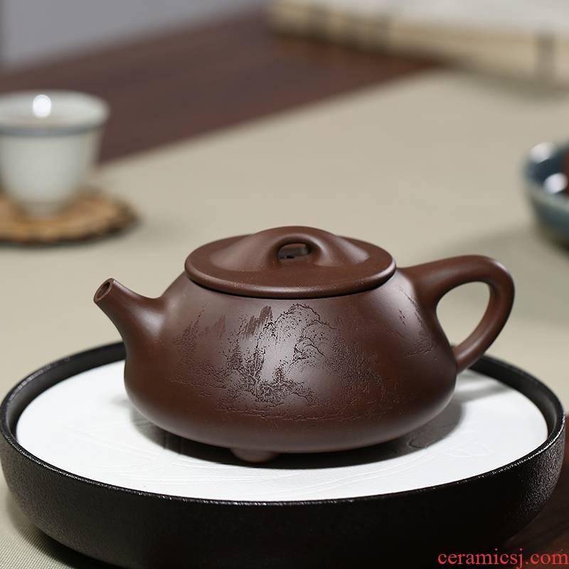 Shu garden famous double the engineering pure manual stale old purple clay high - capacity ba wang shi gourd ladle zisha teapot can be carved
