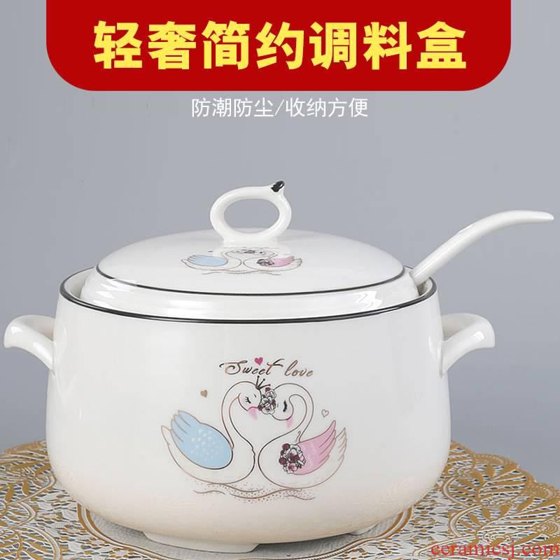 Ceramic pig Nordic seasoning box of large oil tank oil can household salt pot seasoning GuanPing kitchen pepper pot