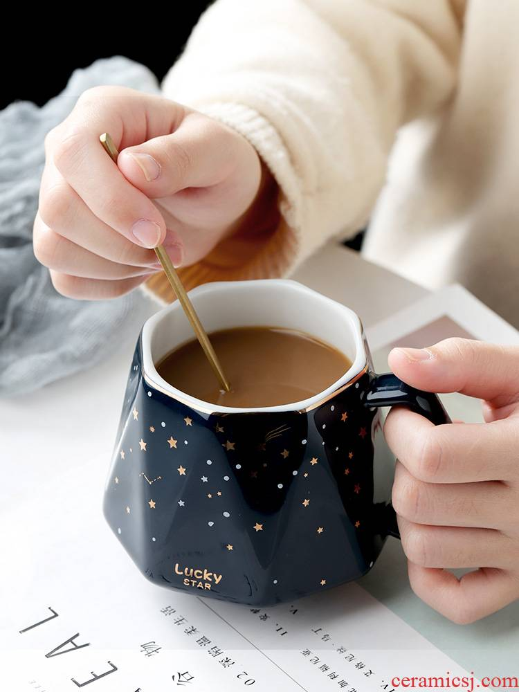 Star mark cup Nordic ins household glass ceramic coffee cup cereal individuality creative trend of office