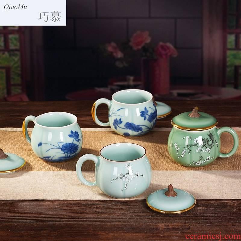 Qiao mu longquan celadon ceramic cups with cover cup tea cup tea lady pumpkin cup mandarin duck play