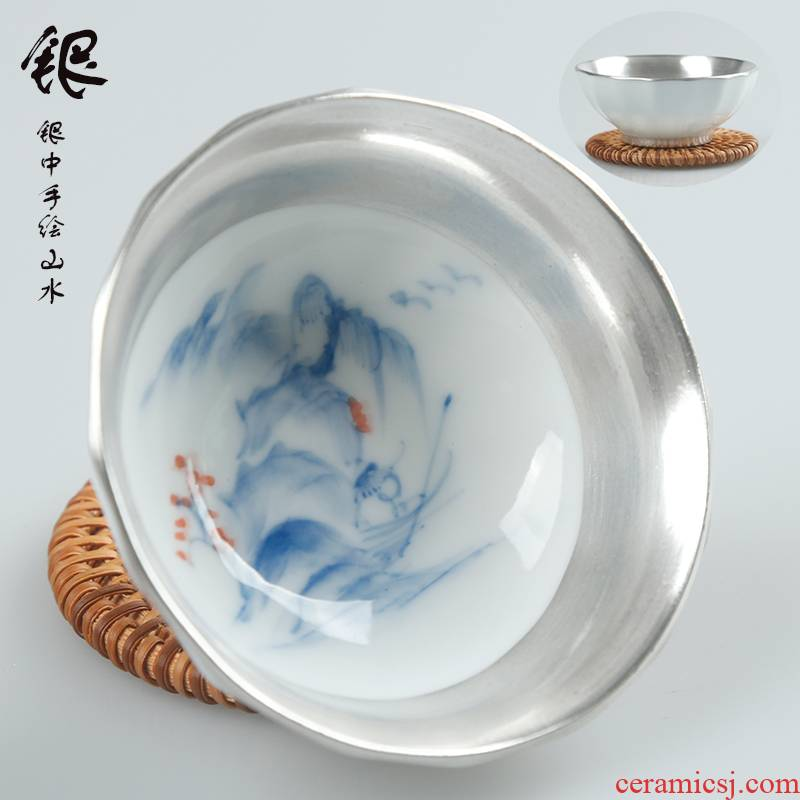 The ancient sheng blue and white hand made white porcelain up The new landscape of 99 sterling silver cup coppering. As silver cup sample tea cup kung fu master list