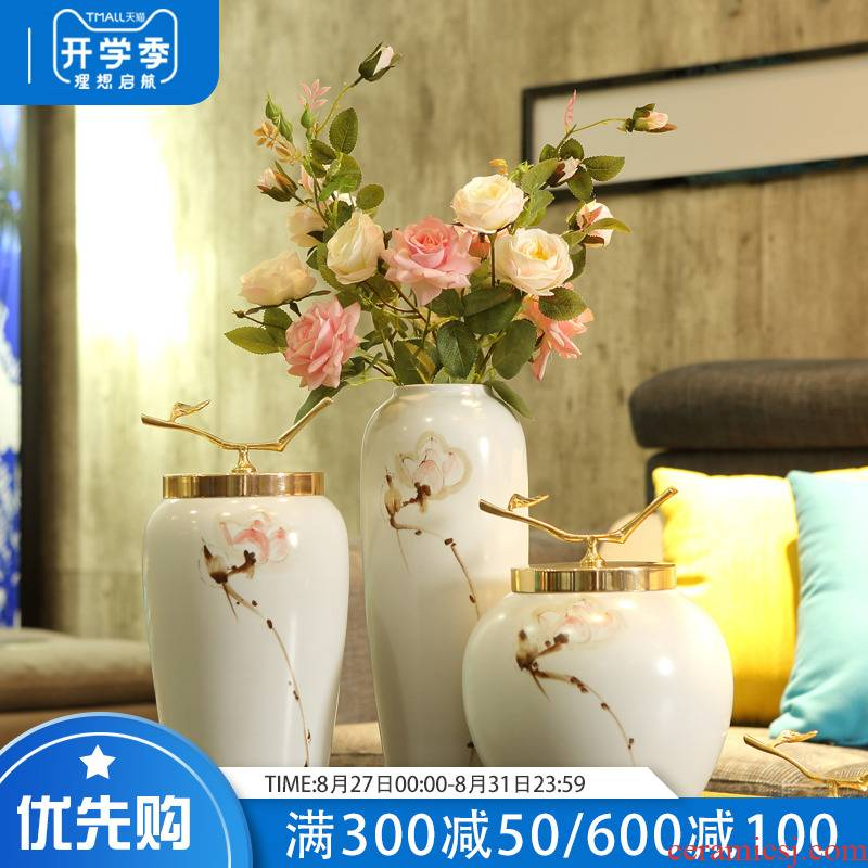 Modern European ceramic vase furnishing articles creative contracted sitting room flower arranging, TV ark, porch home decoration