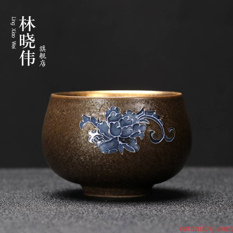 Hand - made ceramic sample tea cup gold cup kung fu tea set home owner built light to use individual cup cup single CPU