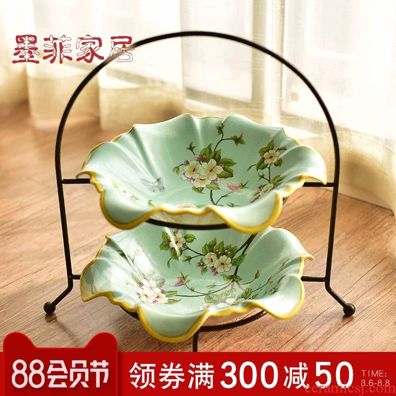 American ceramic double fruit bowl place to live in the new Chinese style restoring ancient ways is the sitting room tea table dry fruit tray 'lads' Mags' including nuts, tea tray