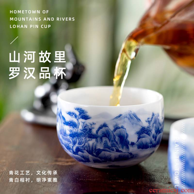 Mountain sound ocean 's hometown of blue and white was hand - drawn cup of pure manual master cup large sample tea cup jingdezhen tea cups
