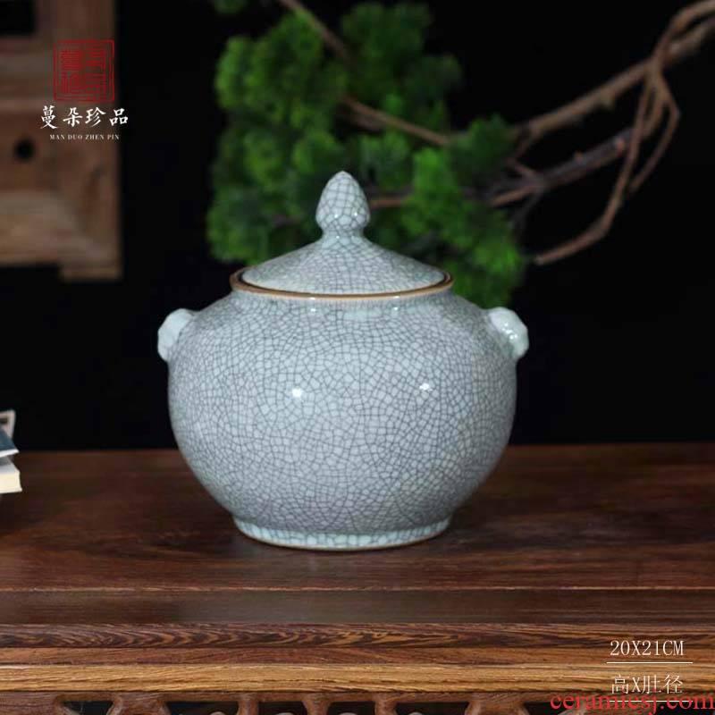 Crack classical jingdezhen porcelain cover of primitive simplicity and elegant porcelain pot archaize Crack glaze porcelain cover tank