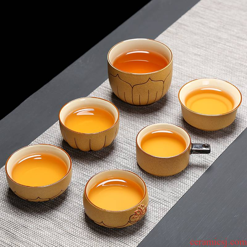 Ceramic kung fu tea set coarse pottery cups hand - made noggin master sample tea cup tea cup, single glass Ceramic cup