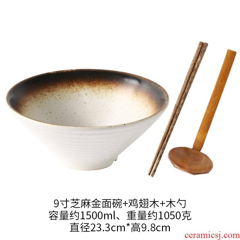 Japanese ramen household large large bowl bowl of restoring ancient ways is a beautiful rainbow such as bowl bowl ltd. ceramic bowl of soup bowl powder rainbow such use