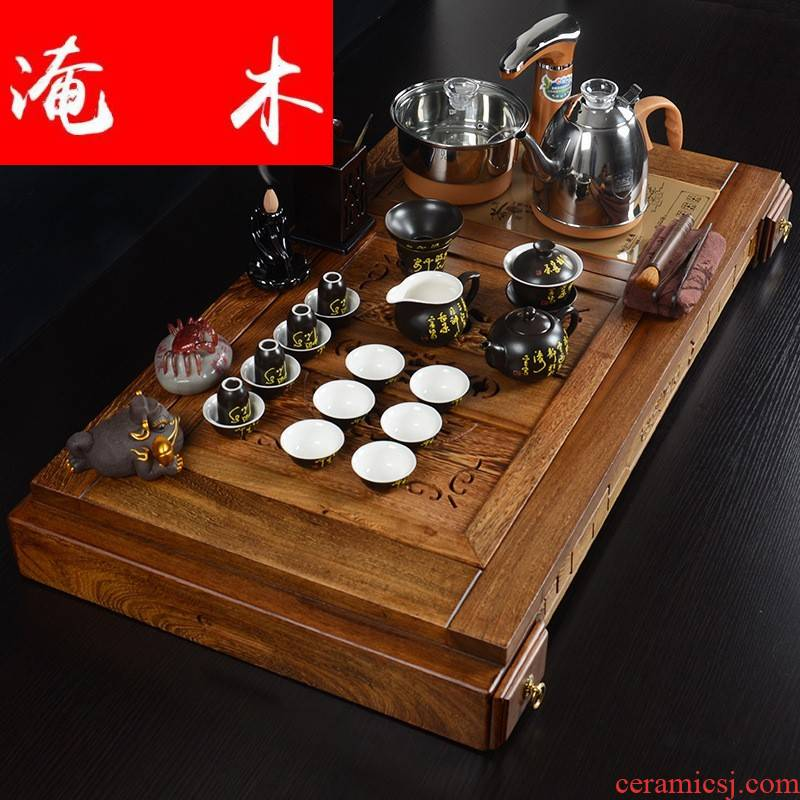 Submerged wood real wood chicken wings wood tea tray and exquisite pavilion kung fu tea sets new violet arenaceous automatic water appliances