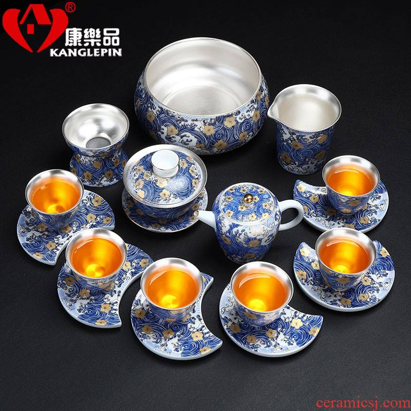 Recreational product jingdezhen colored enamel porcelain tea set suit household coppering. As kung fu tea set lid of a complete set of silver dishes