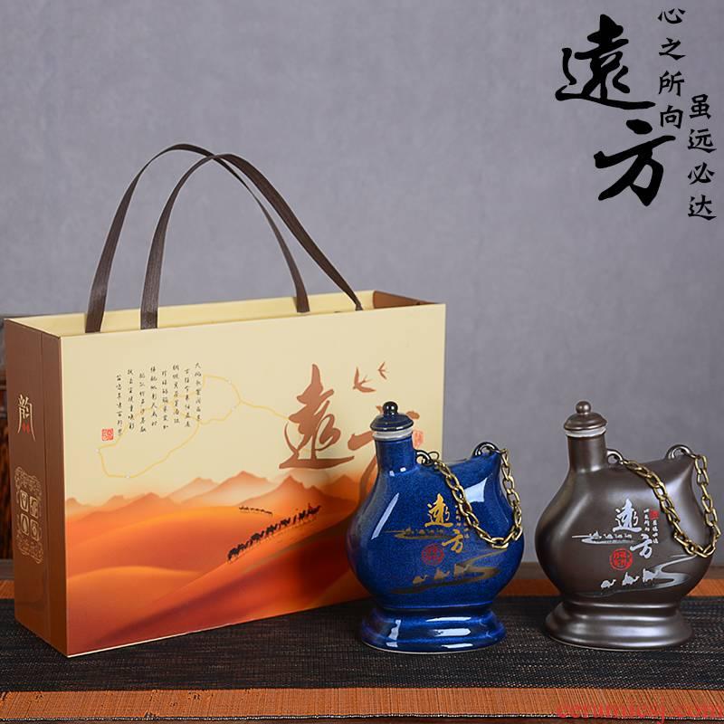 An empty bottle of jingdezhen ceramic 1 kg pack jar household creative liquor pot of wine gift box packing seal