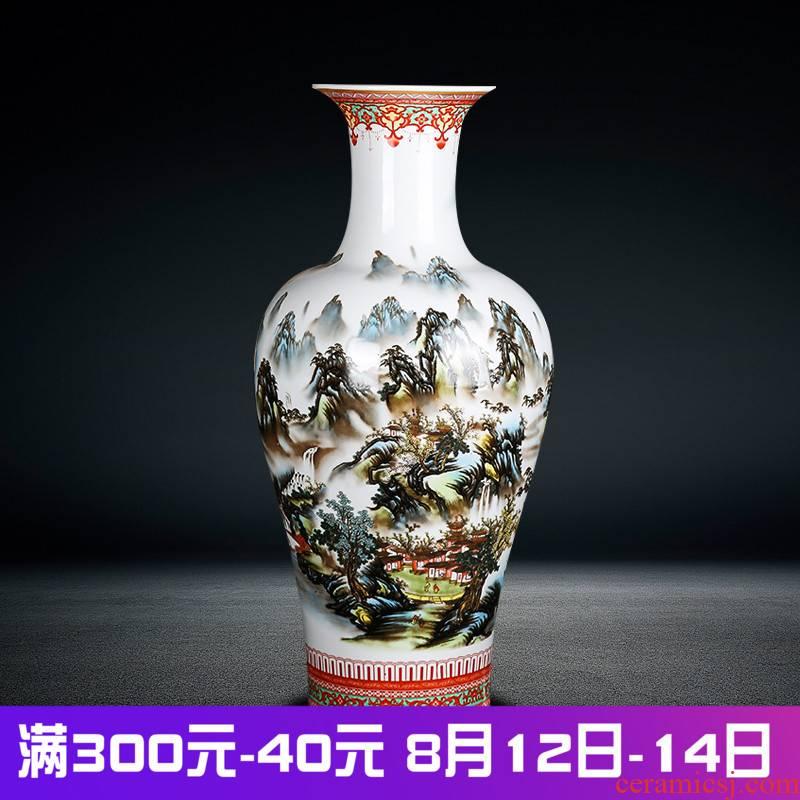 Jingdezhen ceramics landscape snow home furnishing articles of large vase flower arranging porch decoration large living room