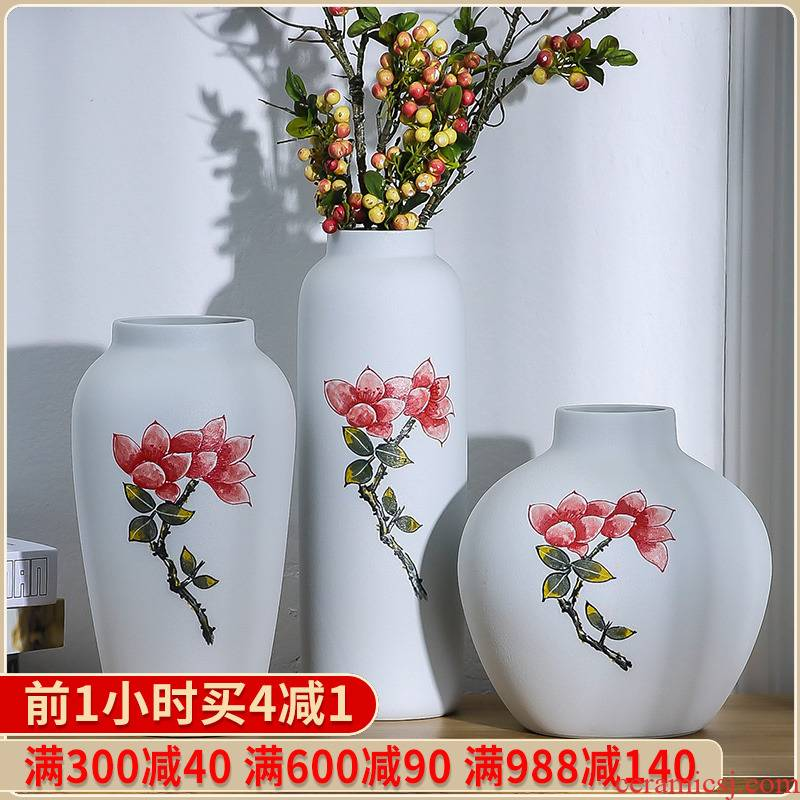 The New Chinese jingdezhen ceramic vase desktop I household adornment sitting room flower arranging a three - piece furnishing articles