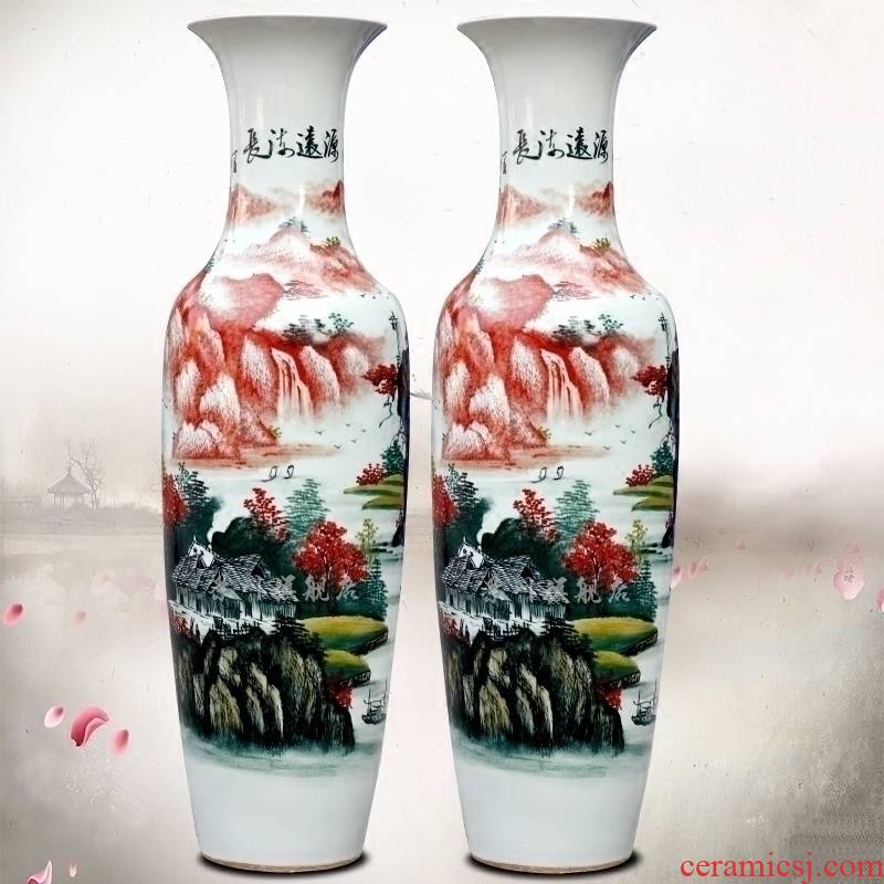 Jingdezhen ceramics hand - made landscape has a long history of large vase home furnishing articles craft supplies sitting room