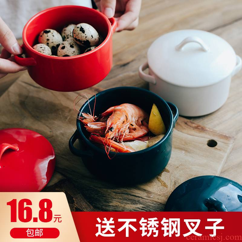 Baking with cover ears of roasted bowl dessert bowl of soup bowl ceramic steamed egg baby bowl dish consisting tureen to hold to high temperature