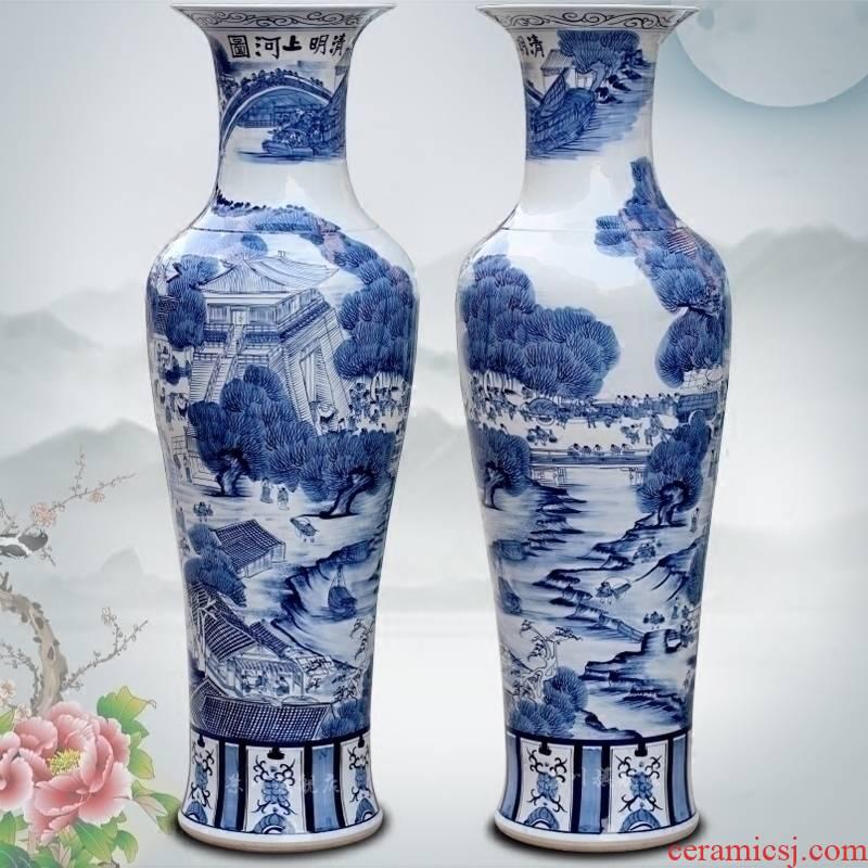 Blue and white porcelain of jingdezhen ceramic qingming scroll big vase home sitting room ground flower arranging furnishing articles adornment
