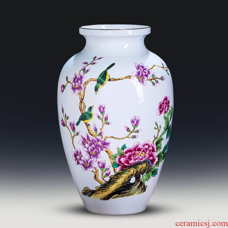 Jingdezhen ceramics powder enamel thin foetus Chinese vase flower arranging place to live in the living room TV cabinet decorative porcelain