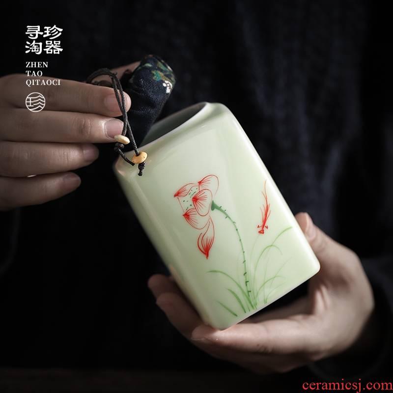 Hand - made caddy fixings small ceramic seal tank household saving POTS POTS are green tea, black tea pu - erh tea store receives customization
