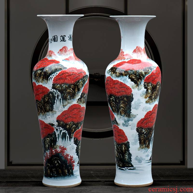 Jingdezhen ceramics hand - made luck, 1 meter of large vases, housewarming sitting room adornment new home furnishing articles