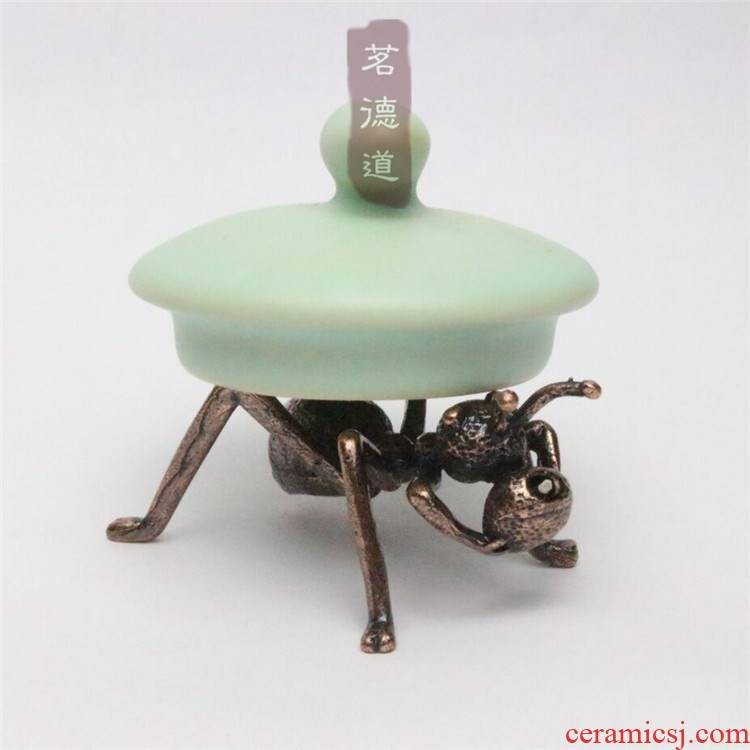 Ants copper iron pot cover rear casting plates cover are it cover holder frame kung fu tea tea accessories sweet furnishing articles