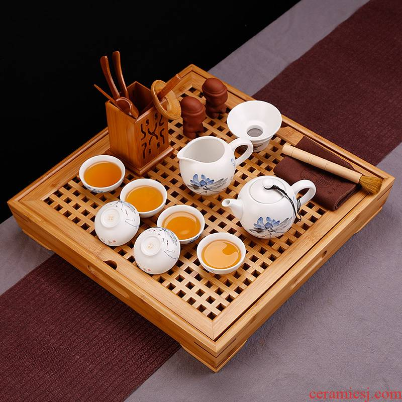 Simple kung fu tea teapot ceramics suit small tea tray was mini household contracted and I tea taking of Chinese style