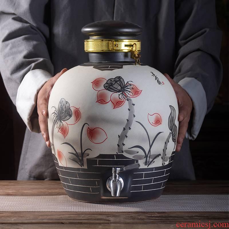 Jingdezhen archaize mercifully wine jars with leading 10 jins 20 jins 30 jins 50 jins home sealing liquor brewing a pot