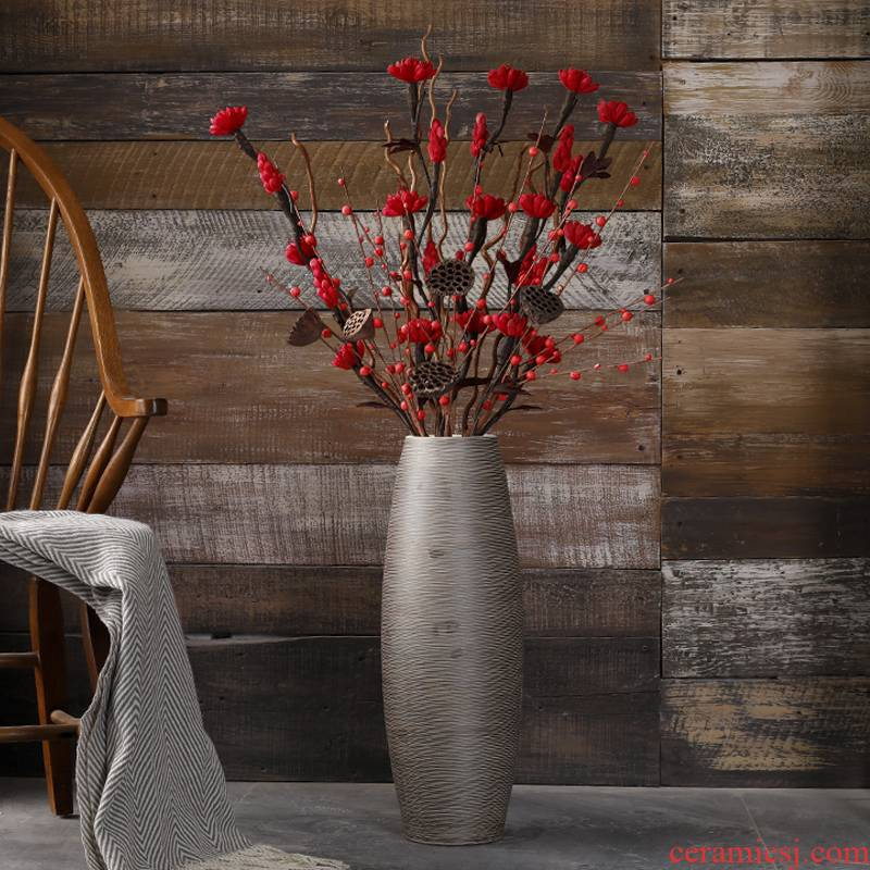 Vase landing big Vase dry flower flower place large ceramic retro light sitting room key-2 luxury decoration villa furnishing articles