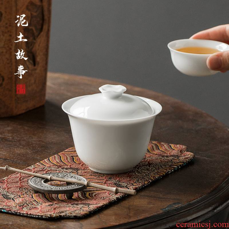 Sweet white porcelain manual only three tureen suit thin foetus jingdezhen ceramic cups a single large kung fu tea bowl