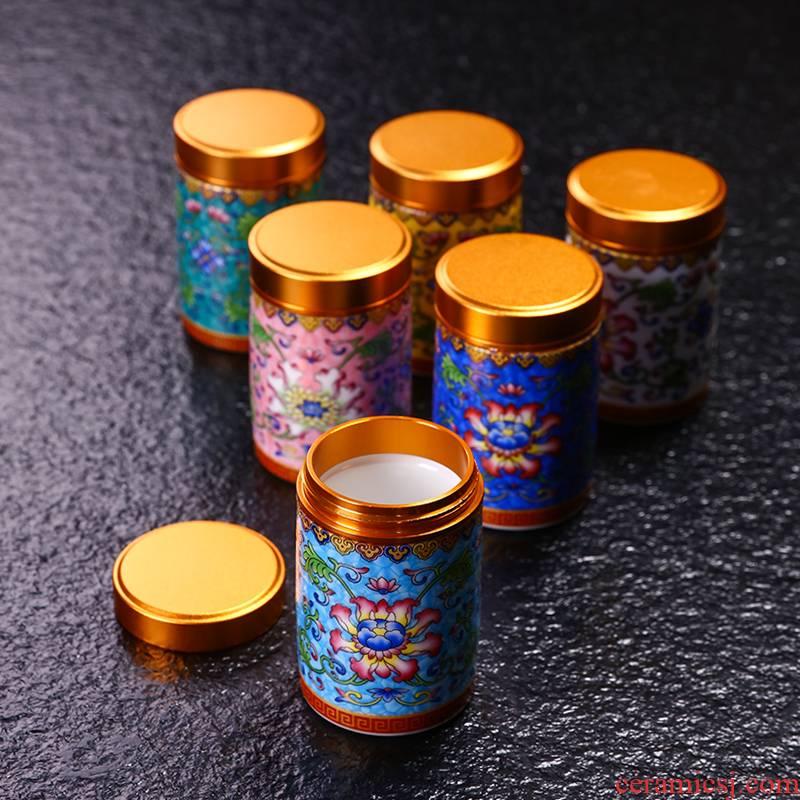 Jingdezhen pick flowers caddy fixings mini travel pot pot seal
