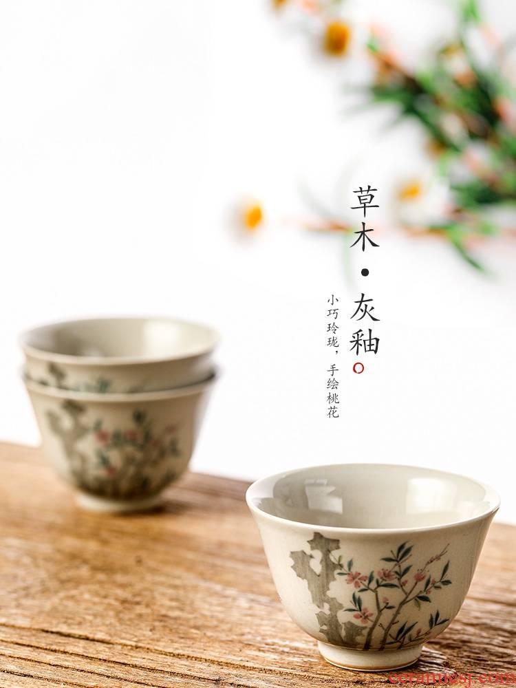 Master kung fu tea cup single cup pure manual jingdezhen hand - made sample tea cup single plant ash glaze peach blossom put to use