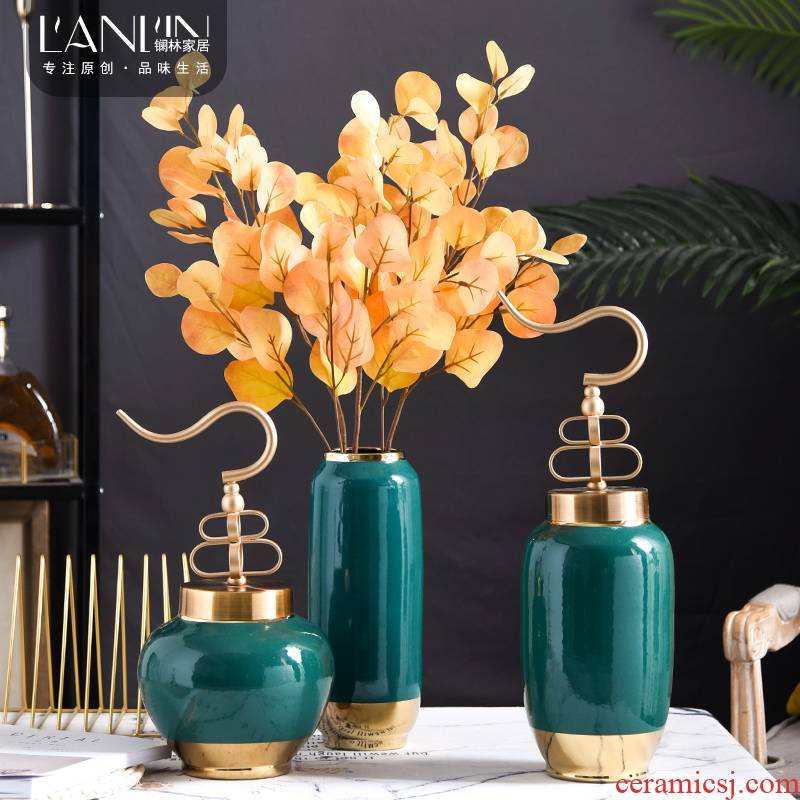 Light and decoration with a lid Nordic dry flower adornment of jingdezhen ceramic creative vase furnishing articles sitting room table arranging flowers