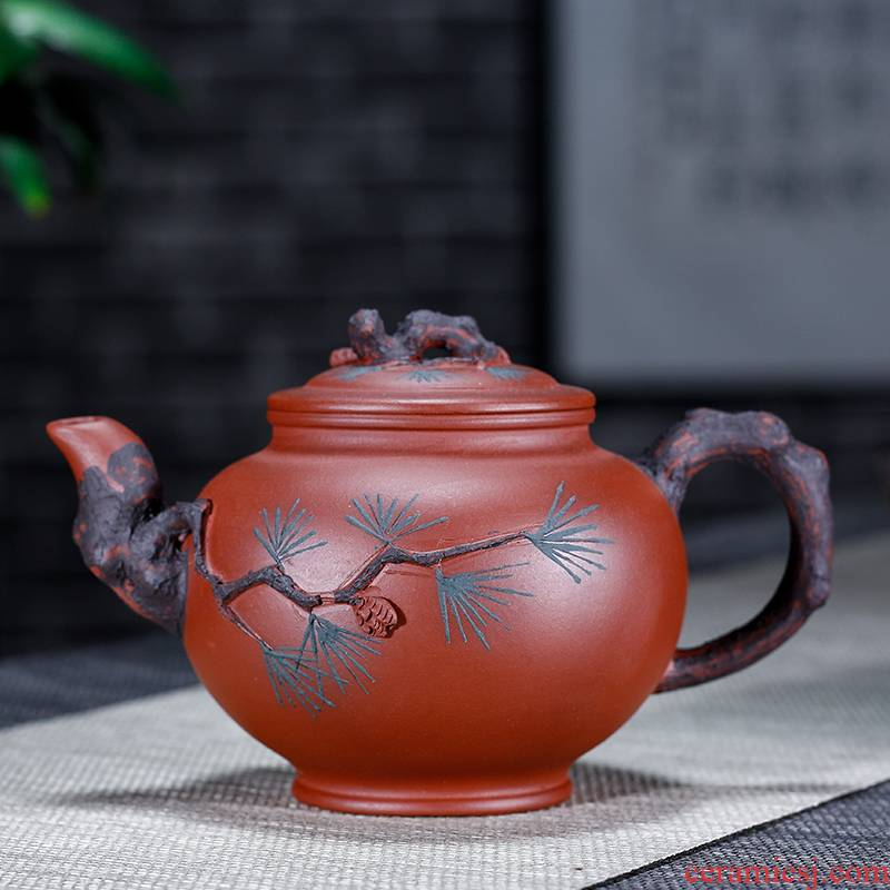 Pine needle harbinger pot of yixing it manual it undressed ore the qing cement capacity of 350 ml